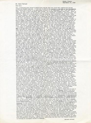 Letter written by Artaud in Rodez, France, September 17, 1945.