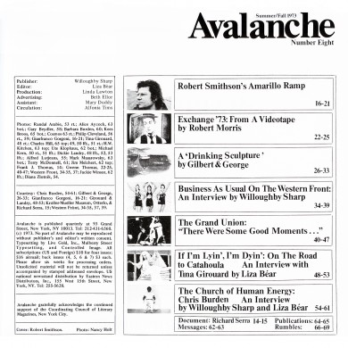 Table of contents. Avalanche, no. 8 (Summer-Fall 1973)