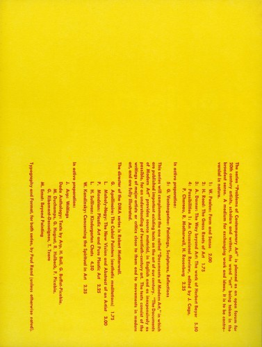 Problems & Documents of Contemporary Art